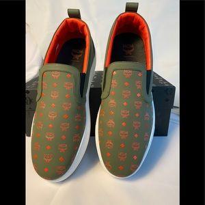 MCM Men's Loafer Boater slipon shoe Green Visetos